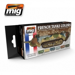 AMMO OF MIG A.MIG-7110 Set de 6 Flacons de Peinture Camo French IWW & IIWW Camo 17ml