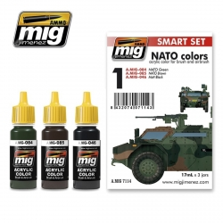 AMMO OF MIG A.MIG-7114 Acrylic Paint Set (3 jars) NATO Colors 17ml