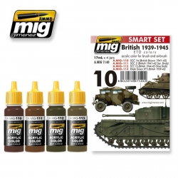 AMMO OF MIG A.MIG-7140 Acrylic Paint Set (4 jars) British 39-45 European Colors 17ml