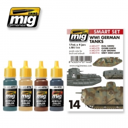 AMMO OF MIG A.MIG-7144 Set de 4 Flacons de Peinture WWI Tanks Allemands 17ml