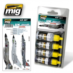 AMMO OF MIG A.MIG-7203 Acrylic Paint Set (4 jars) UK Aicraft From 50'S To Present 17ml