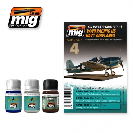 AMMO OF MIG A.MIG-7417 Lavis Kit WWII Pac USN Airplanes – Wash 3x35ml