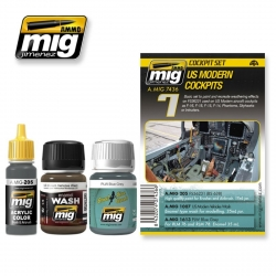 AMMO OF MIG A.MIG-7436 Vieillissement Kit Cockpits Modernes US – Weathering 3p