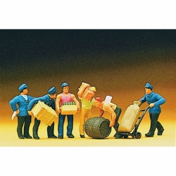 Preiser 10016 Figurines HO 1/87 Personnel d'entrepôt - Delivery Men with Loads