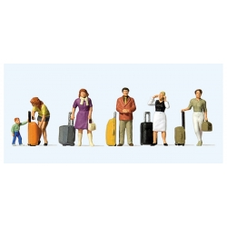 Preiser 10641 Figurines HO 1/87 Voyageurs avec trolleys