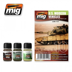 AMMO OF MIG A.MIG-7410 Vieillissement Véhicules Modernes US – Weathering Kit (3p)