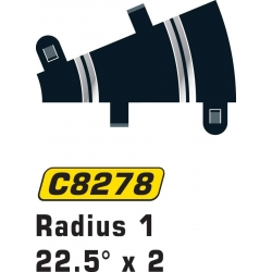 SCALEXTRIC C8278 2 Courbes R1 22.5° - Curve