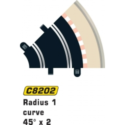 SCALEXTRIC C8202 2 Courbes R1 45°- Curve