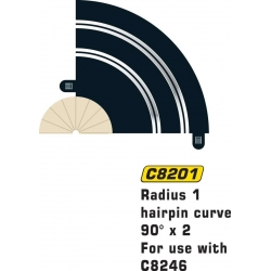 SCALEXTRIC C8201 2 Courbes R1 90° - Hairpin Curve R1 90° x 2