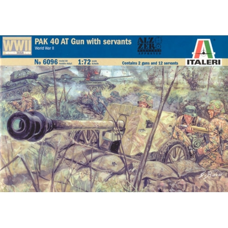 ITALERI 6096 1/72 PAK 40 AT Canon Anti Char Avec Servants – Gun with Servants