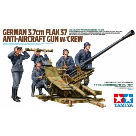 TAMIYA 35302 1/35 German 3.7cm Flak 37 Anti-aircraft Gun w/Crew
