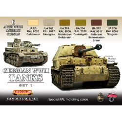LifeColor CS01 German WWII Tanks Set1 Acrylic Colors 6x22ml