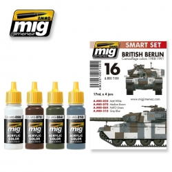 AMMO OF MIG A.MIG-7150 Paint Set British Berlin Camo Colors 1988-1991 4x17ml