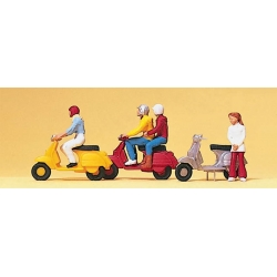 Preiser 10128 Figurines HO 1/87 Conducteurs de scooter - Vespa Riders