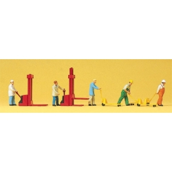 Preiser 10294 Figurines HO 1/87 Magasiniers et Chariots Elevateurs