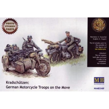 MasterBox MB03548F 1/35 Kradschützen: German Motorcycle Troops on the move