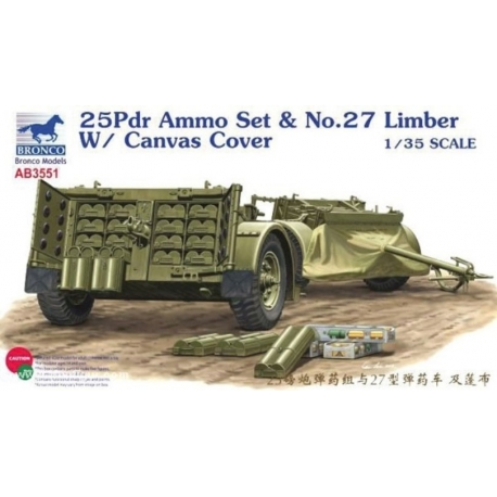 BRONCO AB3551 1/35 25pdr Ammo Set & No.27 Limber w/Canvas Cover