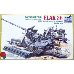 BRONCO CB35042 1/35 German 3.7cm FLAK 36 w/Sd.Ah.52 Carriage Trailer