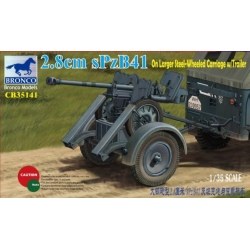 BRONCO CB35141 1/35 2.8cm sPzB41 on larger steel-wheeled carriage w/trailer