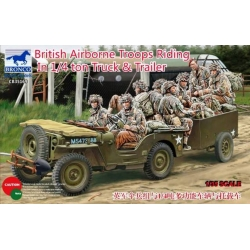 BRONCO CB35169 1/35 British Airborne Troops Riding In 1/4 ton Truck & Trailer