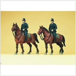 Preiser 10399 Figurines HO 1/87 Police on horseback. Germany. Around 1960