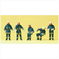 Preiser 10487 Figurines HO 1/87 Pompiers – Firemen. At the fire-engine