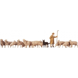 Faller 154001 HO 1/87 Berger, chien, moutons - Shepherd, dog, sheep