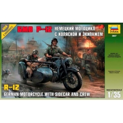 ZVEZDA 3607 1/35 German Motorcycle R12 with Sidecar and Crew