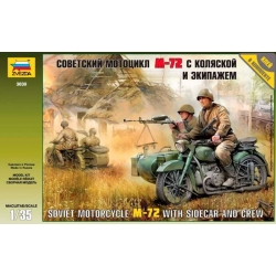 ZVEZDA 3639 1/35 Soviet Motorcycle M-72 with Sidecar and Crew