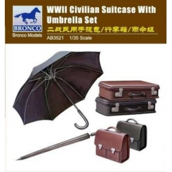 BRONCO AB3521 1/35 WWII Civilian Suitcase with Umbrella Set