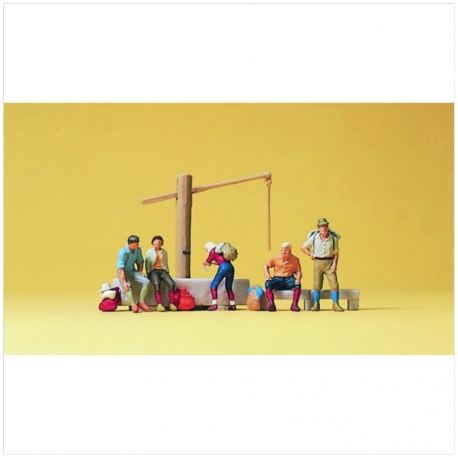Preiser 10441 Figurines HO 1/87 Alpinistes Au Repos - People Relaxing At Fountain