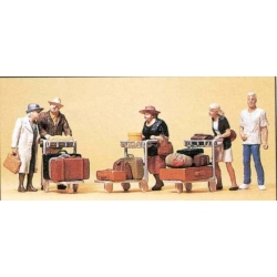 Preiser 10459 Figurines HO 1/87 Travellers With trolleys