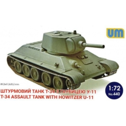 UNIMODELS 440 1/72 T-34 Assault Tank with Howitzer U-11