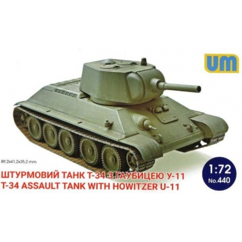 UNIMODELS 440 1/72 T-34 Assault Tank with Howitzer U-11