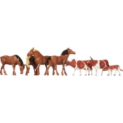 Faller 154002 HO 1/87 Chevaux, vaches brunes - Horses, brown cows