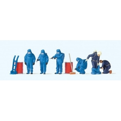 Preiser 10729 HO 1/87 Firemen In Chemical Resistant Suits Blue