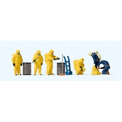 Preiser 10733 HO 1/87 Pompiers en Tenue Chimique Jaune - Firemen in Chemical