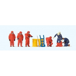Preiser 10730 HO 1/87 Pompiers en Tenue Chimique Rouge - Firemen in Chemical