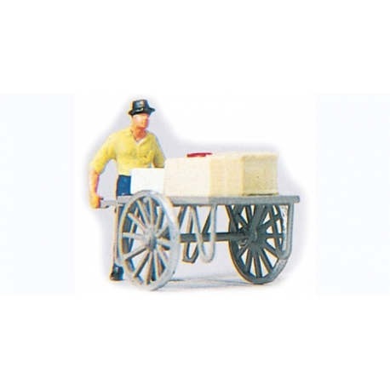 Preiser 28036 HO 1/87 Homme Avec Charette – Man With Carts