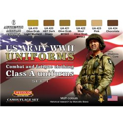 LifeColor CS17 WWII US ARMY Uniforms Colours Set 1 6x 22ml Acrylic Colours