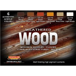 LifeColor CS20 Weathered Wood 6x 22ml Acrylic Colours