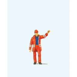 Preiser 28009 HO 1/87 Aiguilleur - Modern Switchman with Safety Uniform and Raised Arm