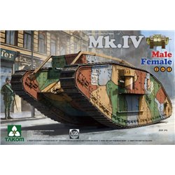 TAKOM 2076 1/35 WWI Heavy Battle Tank Mk.IV Male/Female 2 In 0