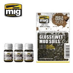 AMMO OF MIG A.MIG-7442 Enamel Glossy Wet Mud Soils 3x35ml