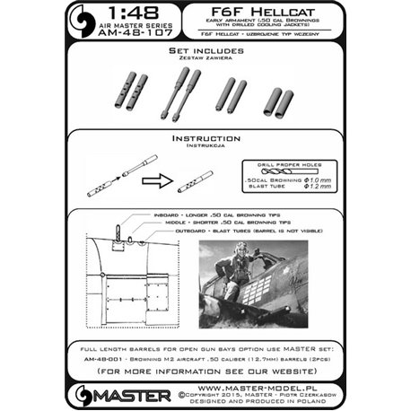 Master Model AM-48-107 1/48 F6F Hellcat - early armament