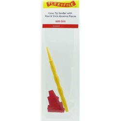 FLEX-I-FILE FFCS600 Cone Tip Sander with Peel & Stick Abrasive Pieces - 600 Grit