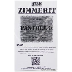 ATAK Model 35015 1/35 Zimmerit Panther A early, 1st Battaillon, 14th Pz. Reg