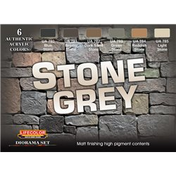 LifeColor CS40 Diorama Set Stone Grey 6x22ml Acrylic Colours