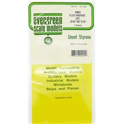 EVERGREEN EG9904 Plaque Jaune Transparant – Yell Transparant Sheet .010x6x12 2pcs