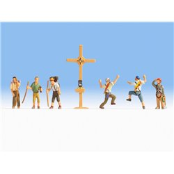 NOCH 15874 HO 1/87 Mountain Hikers with Cross